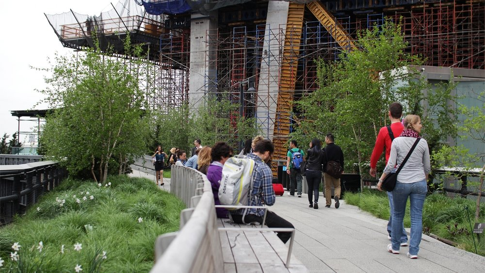 Construction is underway on a third section of the High Line park, High Line at the Rail Yards.