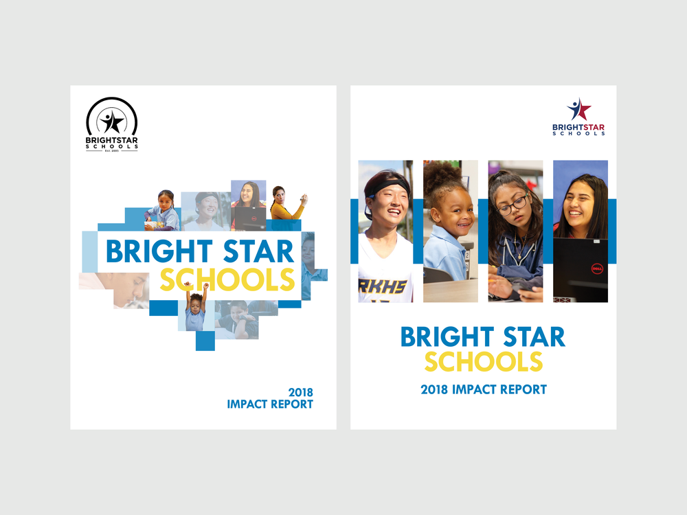 report cover options provided to the client that would reflect a school system serving children from kindergarten to high school. the client ultimately chose option 1.