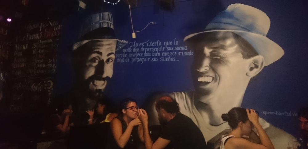 Wall art in one of the many Cuban themed bars in Cartagena.