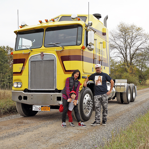 "Angela De Vincenzo, Luca + Jeff Mayer with ""Big Mama"" their 1981 Kenworth K100 Semi…"