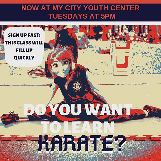 Today begins our Self-Defense class! Through the disciplined art of Kah-rah-tay (karate), kids ages 6-11 will learn self-respect, how to respect others, and gain self-confidence. Great lessons and great exercise in an invigorating hour of fun and activity. Sign up today, class space will fill up fast! Classes meet Tuesdays from 5-6pm.