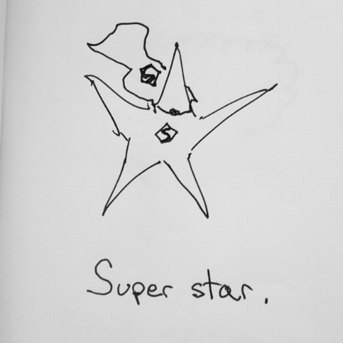Drawing of a super star.