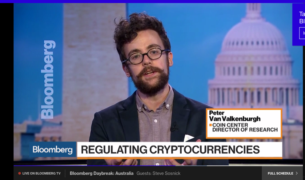 Van Velkanburgh discusses Cryptocurrency regulation on  Bloomberg .