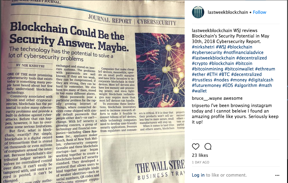 Article photographed by me, and posted on  @LastWeekBlockchain  IG Account.