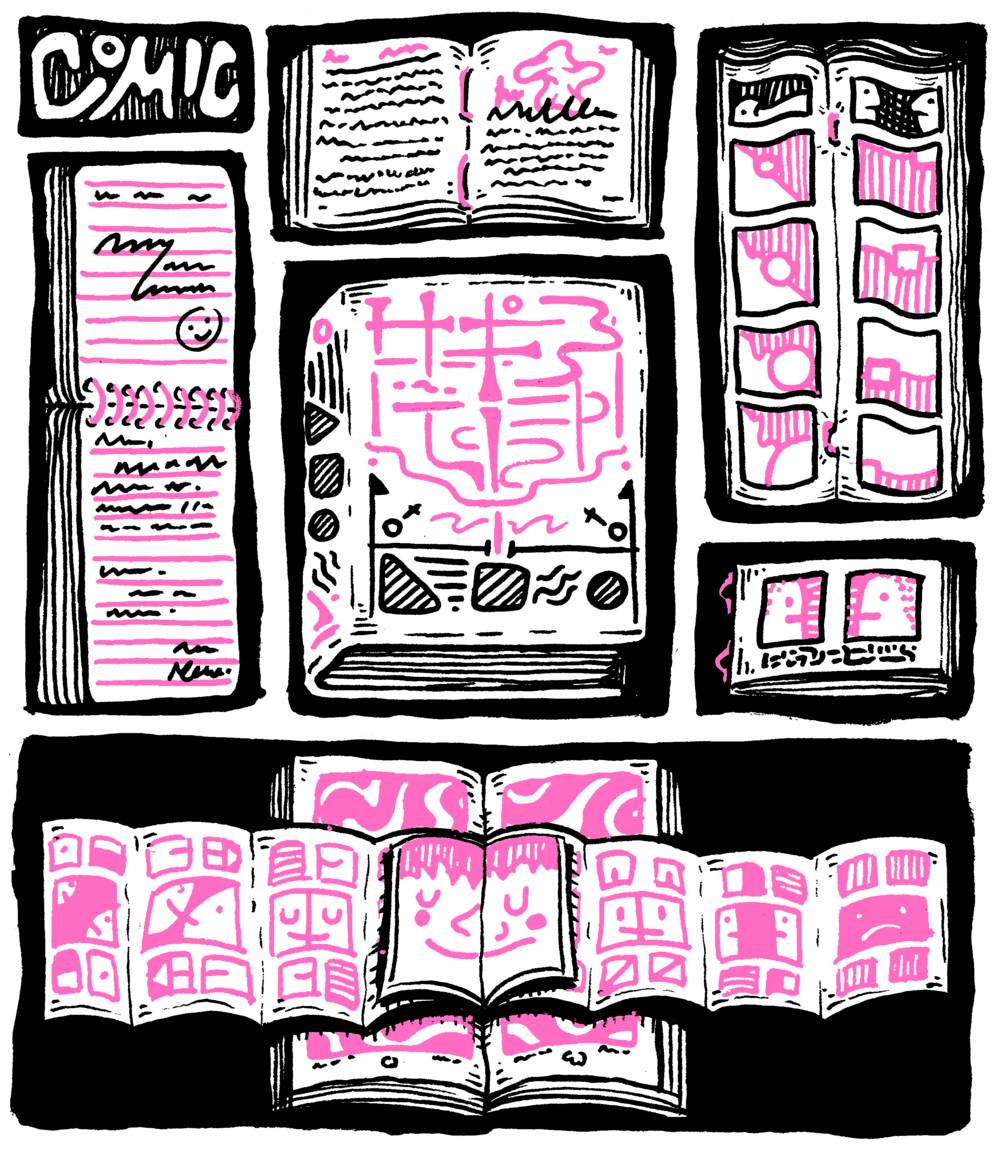 Comic, Comics, Comics (Currently in progress)   60 pg Silent comic with accompanying essay  One page comics revolving around honesty about life, mental health, nature, HIV, gender, people, comics, and anything that fits the following constraints. Each page would be classified as comics (narrative involving time), comic (abstract/formalist ideas or without time), and comix (focused on sexuality/gender); no penciling; only pink and black ink; and no words unless absolutely necessary.