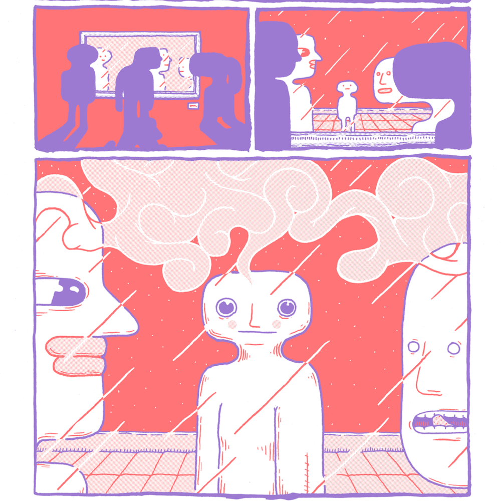 I am Thinking; Therefore, I Exist.   4 Pages included in Pallor Pink Vol 5  Flo Orange and Violet Risograph  August 2018  4 visual essay comics regarding gender and body dysphoria  (formatted as an extension of Comic Comics Comix)