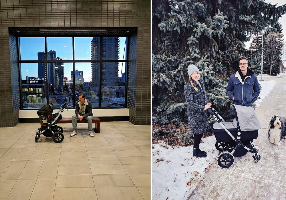 Left: the night when we attempted to leave the house and do errands too soon (maybe four days after Felix's birth?) and I almost fainted. Right: several weeks later, walking as a family when I was feeling so much better.