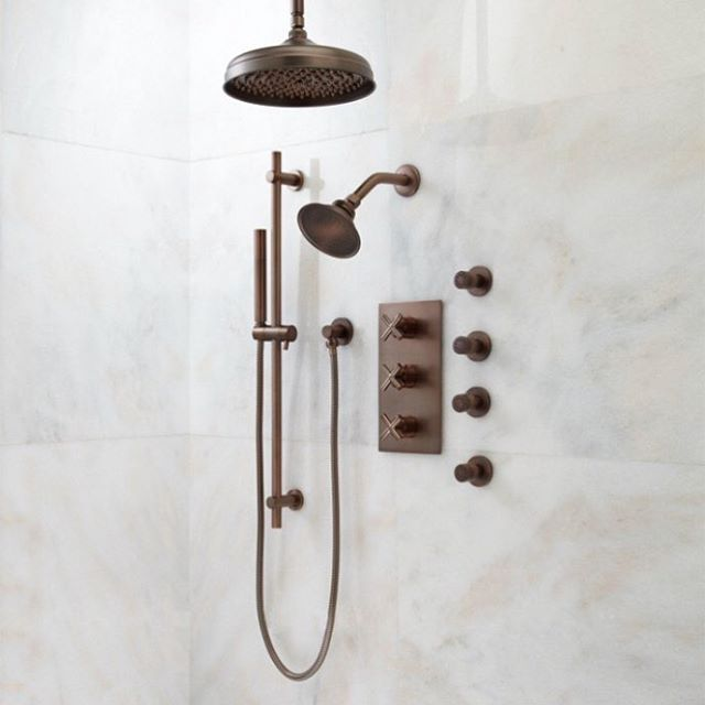 As if being 7 months pregnant wasn't enough we are also deep into a complete gut job in our bathroom and the husband is traveling a lot for work! Lord help me! One thing I'm looking forward to is taking a very long shower in our newly remodeled bathroom with this amazing shower system from @signaturehw 😍. It's the little things guys. #bathroomdecor #bathroomremodel #showers #homedecor