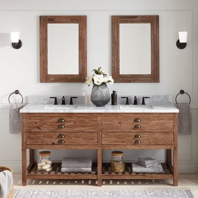 Just got the call that our contractor finished his job early and can come demo tomorrow! Not sure I'm mentally prepared for what's about to happen but I am pretty excited that at next weeks end I might be able to soak my aching back in an actual working bathtub while staring at our new vanity from @signaturehw ... this all might get done before Rosalee arrives after all! #bathroomdecor #motherhood #homedesign #vanity #newbathroom