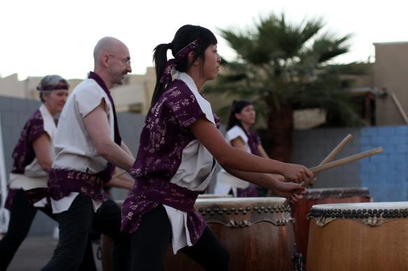 Members of Fushicho Daiko perform taiko drumming at the 2013 Grand Avenue Festival.