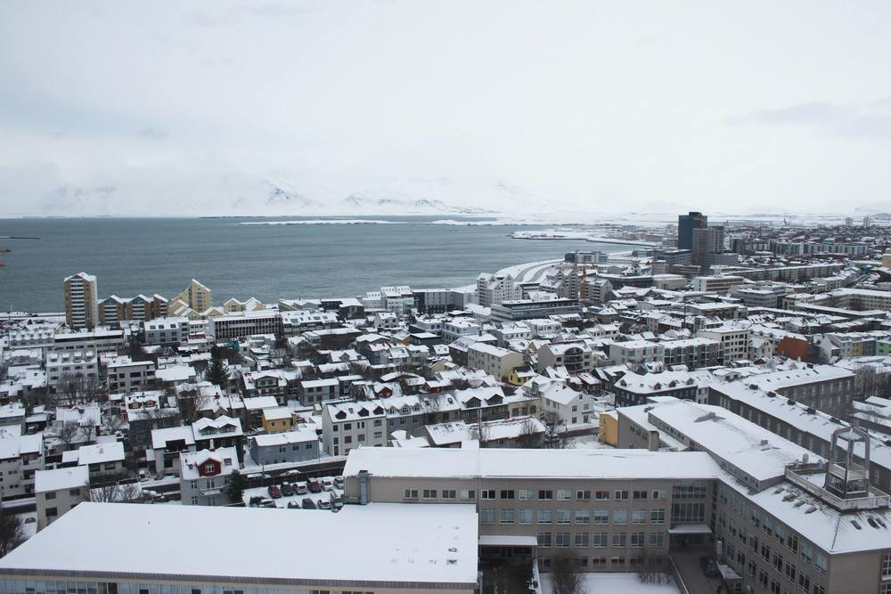 The view of Reykjavik from the top of the Hallgrimskirkja church.