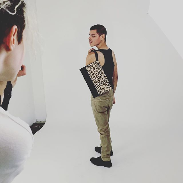 Sneak peak from our photo shoot! @jessejrosario #gorgeous #queerfashion #portlandfashion #resale #clutch #nogenderrules #fresh #queermodel