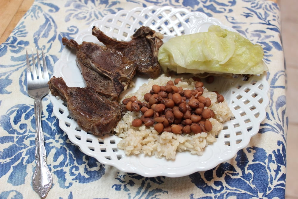Lamb Chops with Rice, Beans, and Roasted Cabbage