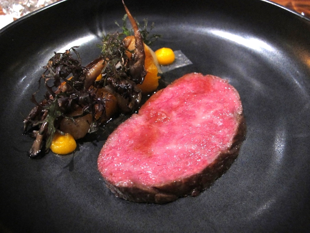 Miyazaki Ribeye with pumpkin, Maitake, Asian pear, and bone marrow