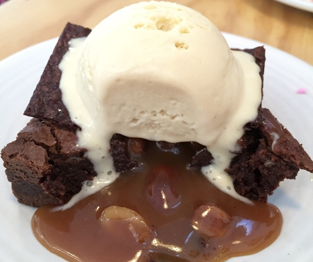 Fudge Brownie filled with Peanuts, Caramel, and Peanut Butter Ice Cream - yes, yes, yes!