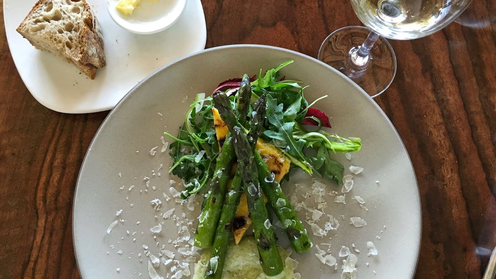 Grilled Zuckerman Farms Asparagus with Green Garlic Ranch, Grilled Polenta, and Arugula