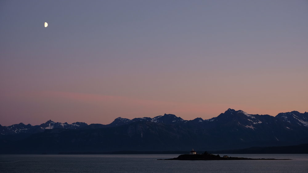 Moonrise over Eldred Rock Lighthouse, seen from our cruiseship balcony departing Skagway, Alaska