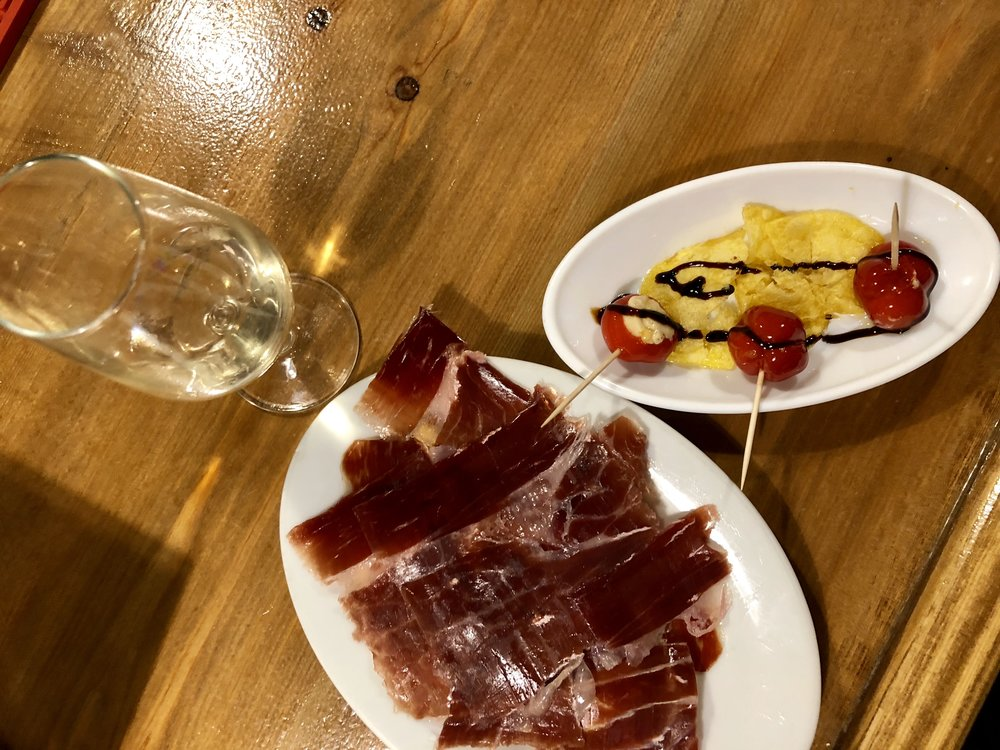 Tabanco Plateros' Fino Sherry; Iberico Ham; Peppers stuffed with Cheese + Pedro Ximénez reduction