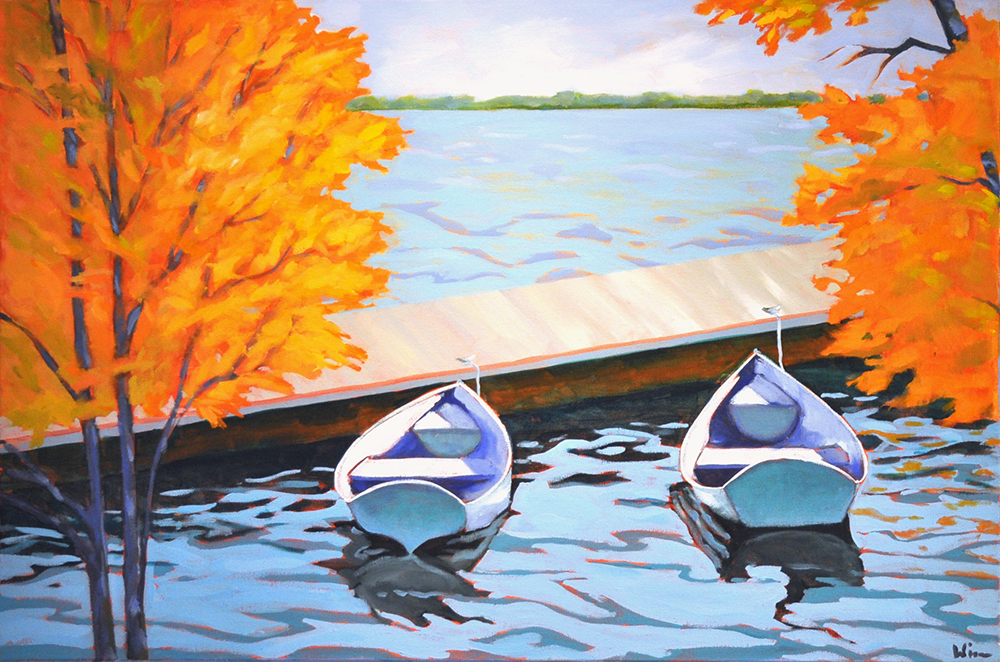 Two Dinghies,  2015 Acrylic on canvas 24 x 36 inches