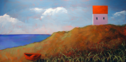 Red Dinghy on the Shore,  2007 Acrylic on canvas 18 x 40 inches
