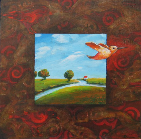 Hummingbird Morning , 2016 Acrylic on wood 12 x 12 inches