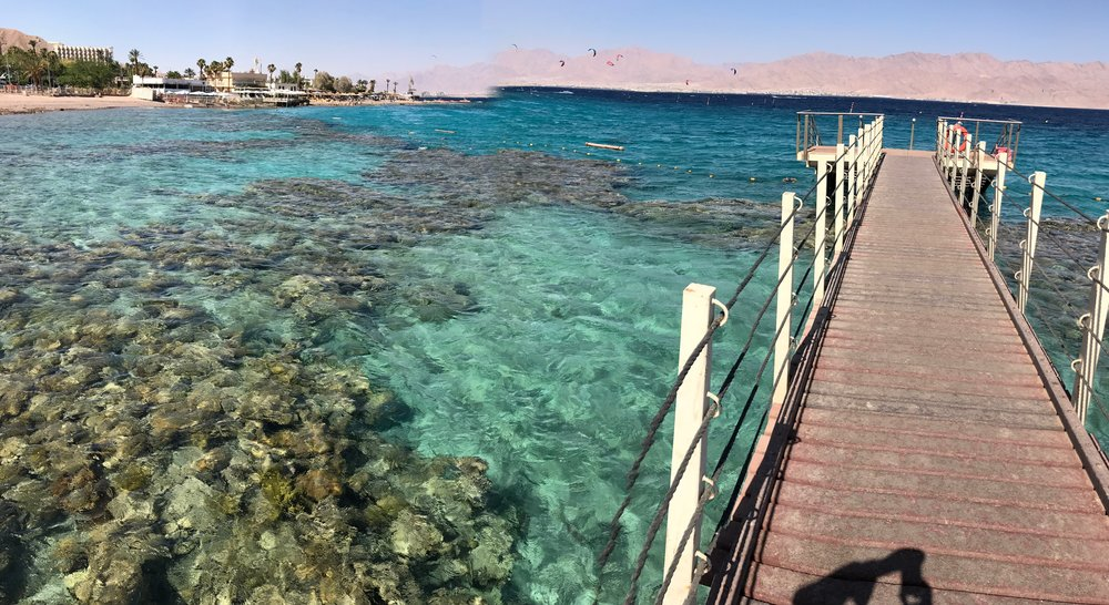 Image of pier out onto the Red Sea, June 2017.