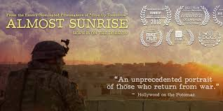 Almost Sunrise - The suggested classroom unit for the documentary Almost Sunrise is a 5-6 day lesson exploring the central issues raised in the film - the challenges facing returning veterans, moral injury, forgiveness and healing. The film follows Anthony and Tom, two Iraq War veterans, on a 2700 mile emotional and physical pilgrimage across the country in their effort to heal from war and restore hope.