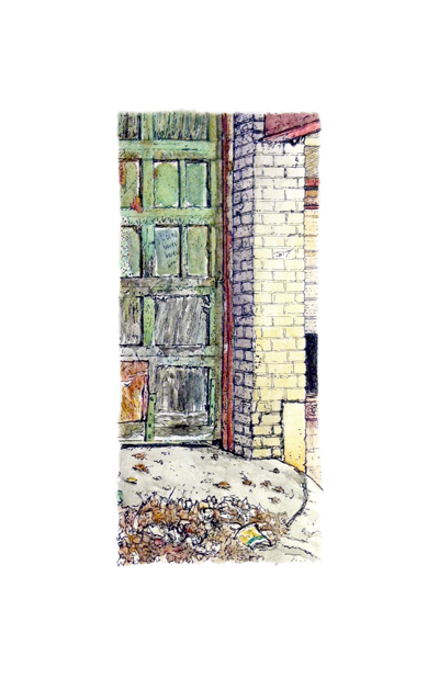 Morgan St: Warehouse , pen & ink and watercolor on paper, 5.5 x 8.5 in, 2017