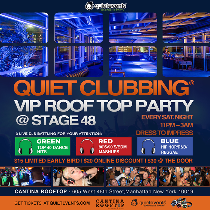Location605 West 48th Street,Manhattan,NY 10019  VenueRooftop 48  Time11:00 PM - 3:00 AM  Price$15 - $30  This upscale VIP Rooftop on top of the mega club Stage 48 is one of those must do parties in Manhattan. 3 Live DJs, hundreds of people singing and dancing under the stars all while wearing glowing headphones.  With a retractable rooftop, this wild party happens rain or shine. This is the ideal spot for a girls night out, birthday party or with a bunch of friends getting their drink & groove on. Bottle service and reserved seating available.   Your 3 Live DJs are spinning all night:   DJ Izzy E (Green): Top 40 Dance Hits  DJ Fitz1 (Red): 80's/90's/EDM Mashups  DJ Banks (Blue): Hip Hop/Reggae/Soca   WHAT MAKES THE NIGHT SPECIAL?   A Pair of Quiet Events Headphones  Glow in the Dark Gear  Rooftop with views of NYC  3 Live DJ's battling for your attention   SPECIAL NOTES:   21+ to party  Rain or Shine (If it rains, the glass roof closes!)  Tickets available at the door, but are limited  Bottle service packages email: James @ stage 48   Dress code: Dress to impress   WHAT TO BRING:   You MUST have a credit or debit card for the check-in process. If the headphones are NOT returned, there will be a $100 charge to your credit or debit card after the event.  No need to print your ticket, just show the code on your phone or they will have your name at the door.   HOW IT WORKS  When you arrive you'll receive a pair of special wireless headphones. You can adjust the volume and choose between up to three DJ's with a flip of a switch. Each headset has a color LED that shows what channel you are listening to, so you can dance along with those listening to the same DJ as you. It's super social; just lower the volume or take the headphones off to talk to that girl or guy. There's no loud music that you have to talk over. Plus, there's no ringing in your ears when you leave!