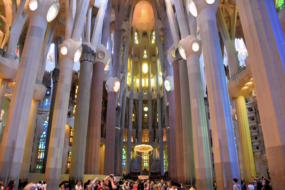 "Antoni Gaudi, the Sagrada Familia's eccentric architect, had a strong connection to nature. Many elements of the church incorporate examples from the natural world. The columns, for example, branch out like trees as they approach the roof. Gaudi called them his ""petrified forest""."