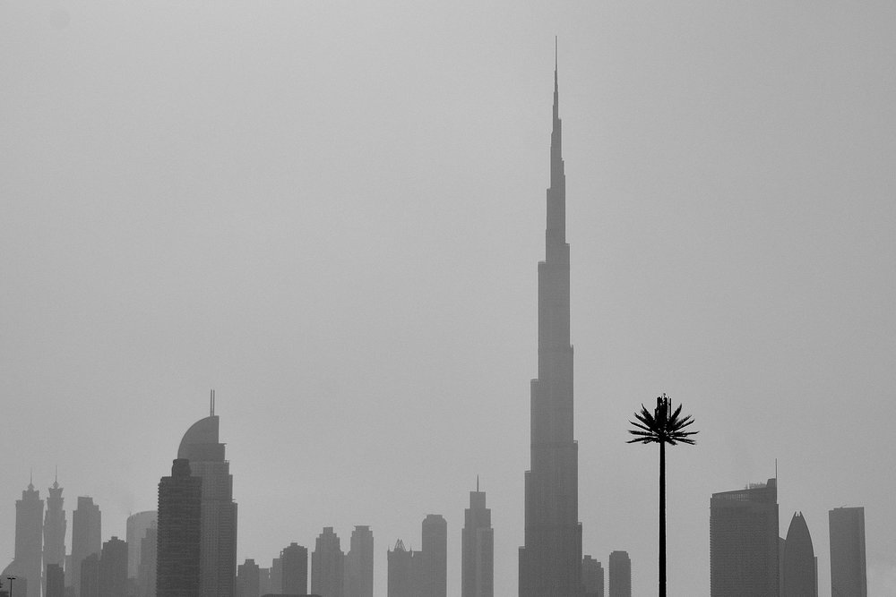 The skyline of Dubai. The tallest building is the Burj Khalifa.
