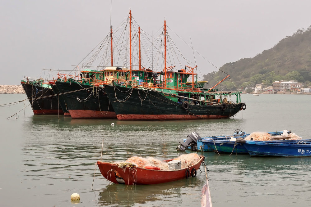 Fishing boats in the fishing village of Tai O on Lantau Island, Hong Kong.
