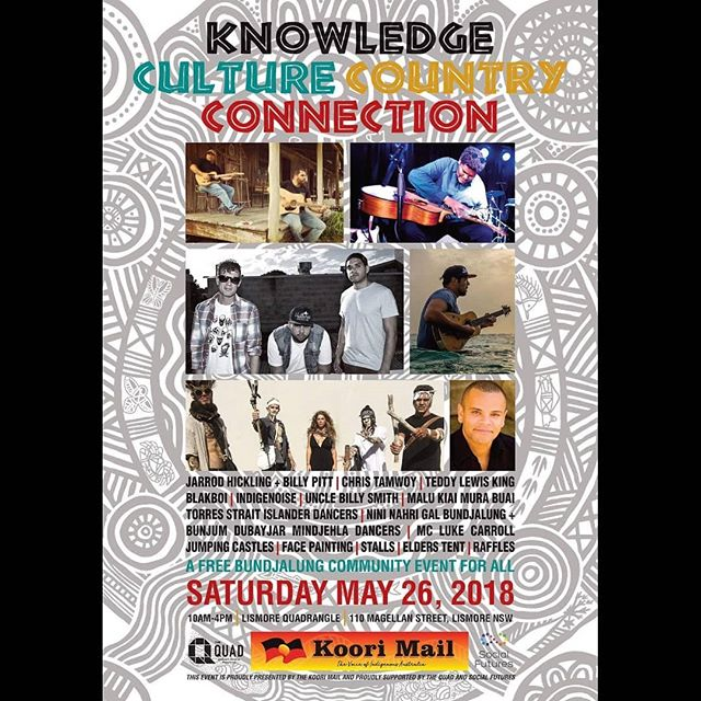 Back at it this Saturday for @koorimailnewspaper alongside @indigenoise @blakboimusictv_ @luke___carroll & @christamwoy Free Commuity event for everyone in @lismorequad.