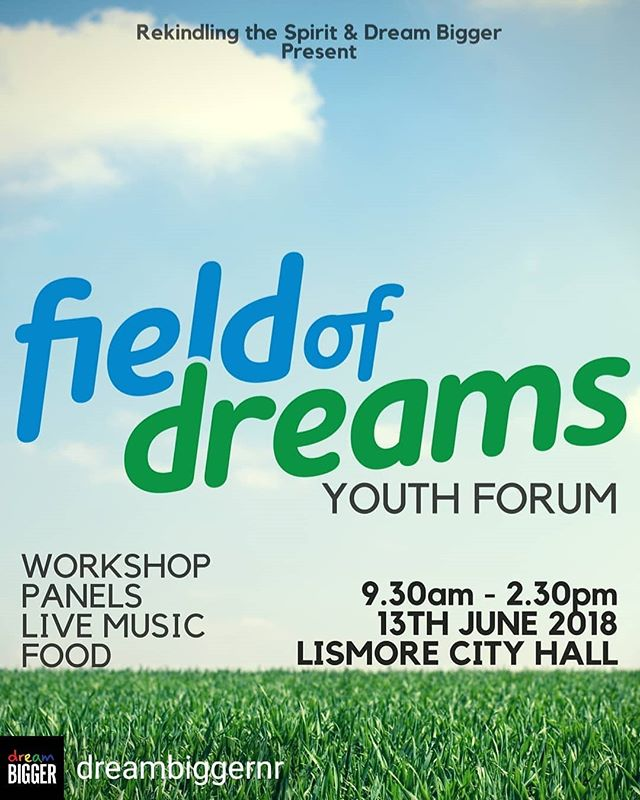 Regrann from @dreambiggernr -  Next Wednesday Field of Dreams Youth Forum  this event is aimed at youth (12-25) and the people and organisations who support them to encourage conversation & growth.  If you would like to register please email us DreamBiggerNR@gmail.com