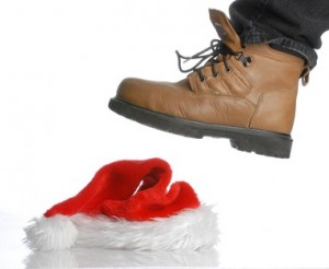 workboot stomping on santa hat - hard times at christmas