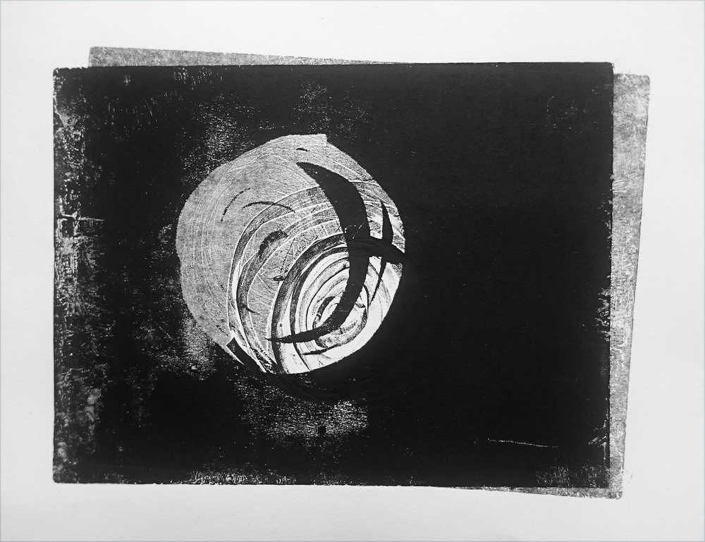 Cutout and monoprint, A4