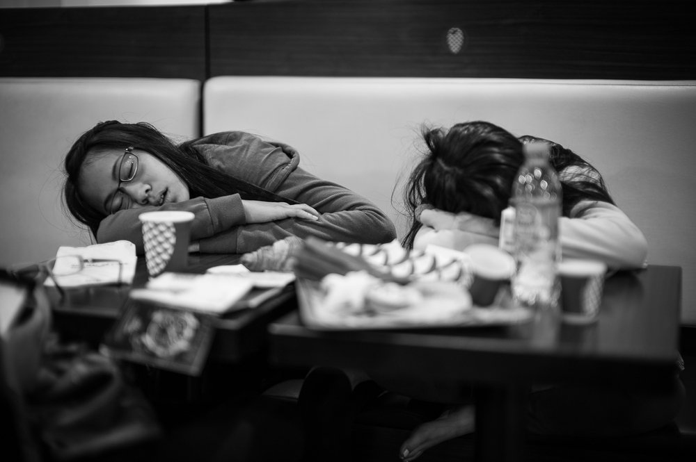 Having arrived in Paris very early after a red-eye from Toronto, the girls were SOOO tired. This was in a cafe and they could barely finish their breakfast without falling asleep.