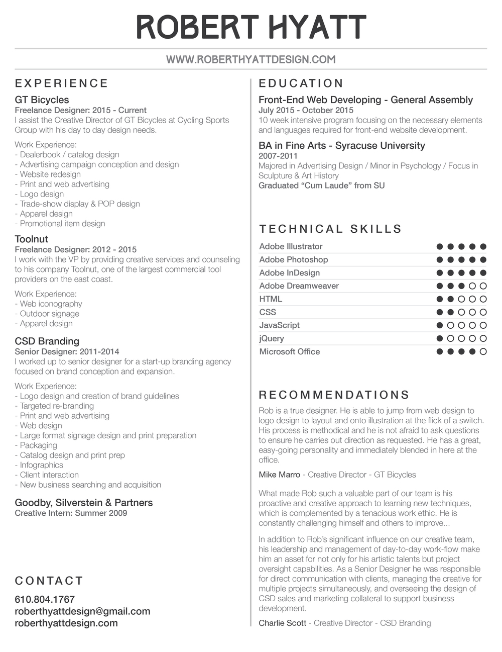Robert Hyatt Resume