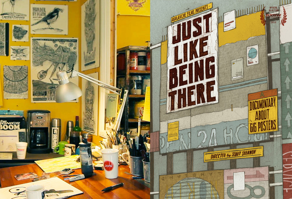 "Image by Jakob Frank and ""Just Like Being There"" DVD cover, artwork by Dan Black of Landland"