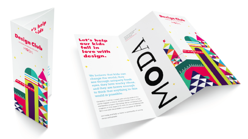 Design Club graphics originally designed by  Primal Screen  and adapted for use on Design Club collateral material created by  Son & Sons  as part of MODA's re-branding initiative in 2015.