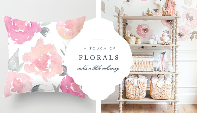 Floral Pillow | Society6.com            Watercolor Wallpaper | Project Nursery.com Monica Hibb