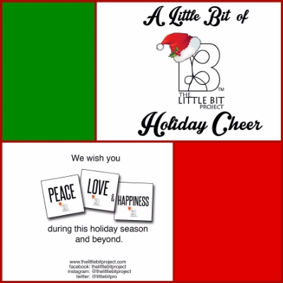 A mock layout of the design for this year's Little Bit Holiday Greeting Card.