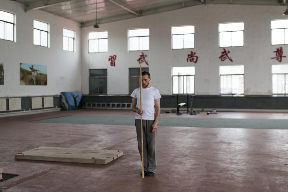 Adam practicing his staff form