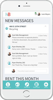 You can post and receive messages from your neighbors, subletters, and management staff on your Building Page