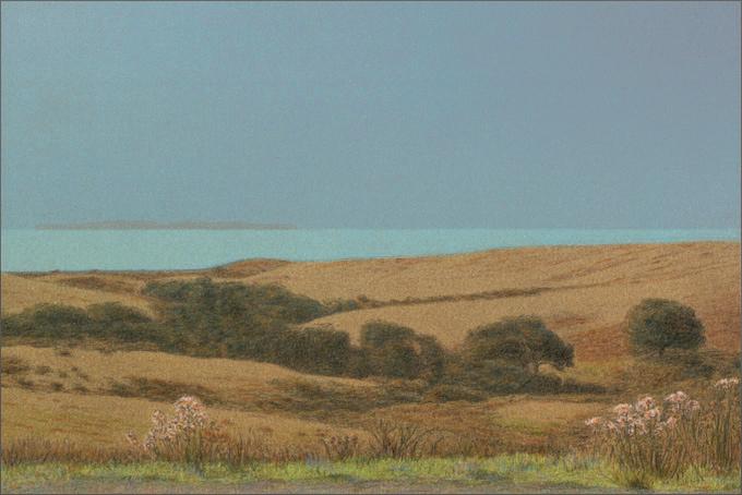"Toward San Miguel Island  10 x 15"" original lithograph 22 plates 2009"