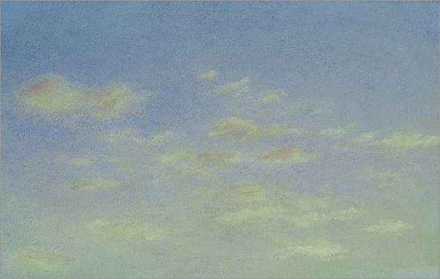 "Cloud Study, Pale Yellow  3 x 5""  oil on panel  2005"