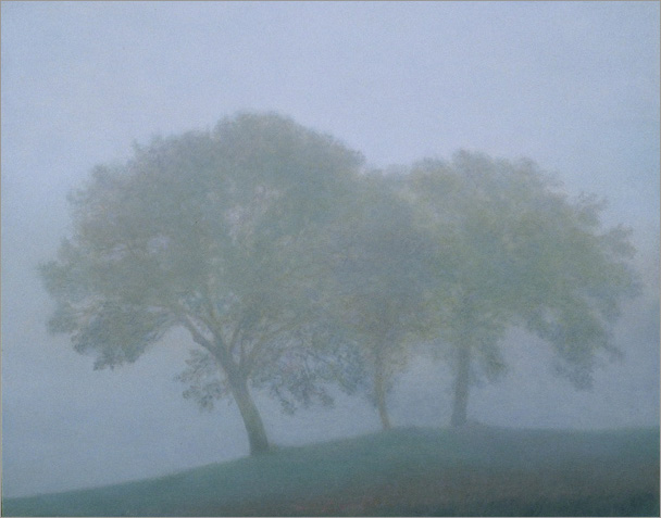 "Trees in Fog, Bevagna 8""x10"", oil on panel, 2007"