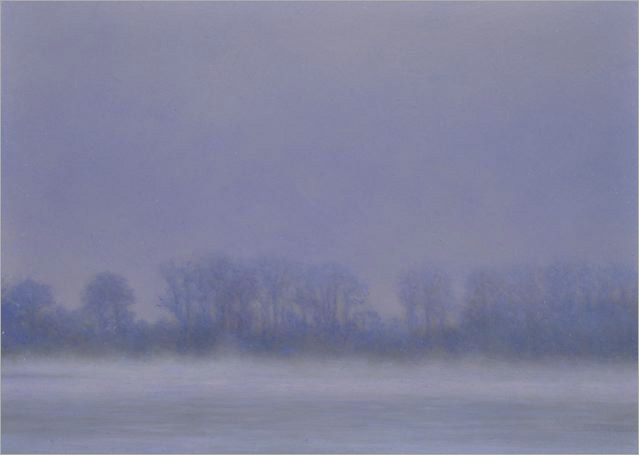 "Morning Fog, Columbia River  5 x 10.5""  oil on panel  2008"