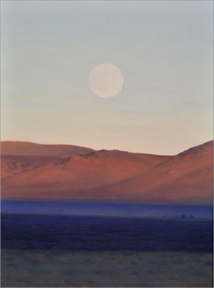 "Moonrise, East of Mono Lake  12 x 9""  oil on panel  2008"
