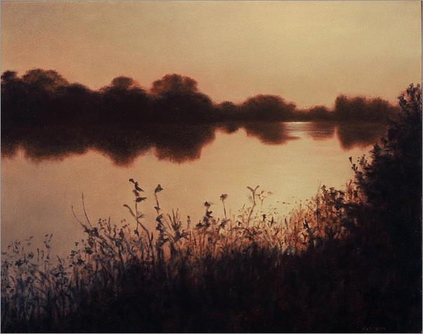 "Dusk on the Delta  8 x 10""  oil on panel  2006"